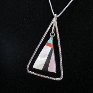 Navajo Artisan Inlaid Mother of Pearl Pendant .925